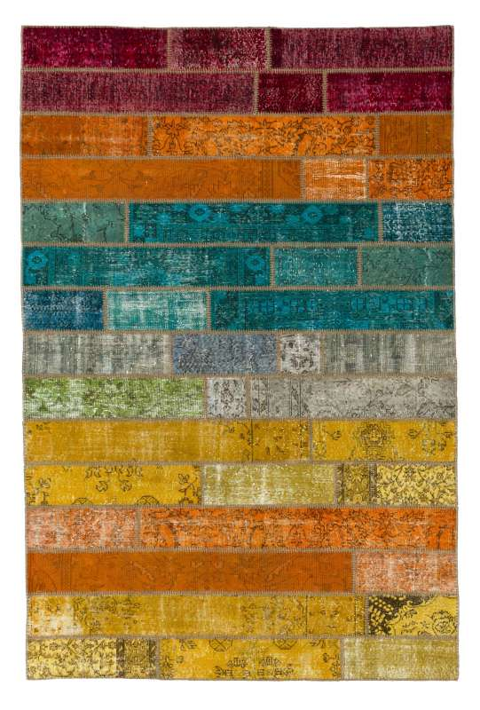 260x300 cm Multicolor Gradient PATCHWORK Rug Handmade from OVERDYED Vintage Turkish Carpets