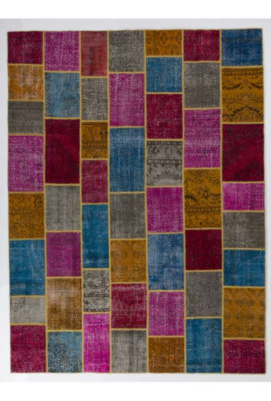 9' x 12' (275x366 cm) Multi-color PATCHWORK Rug Handmade from OVERDYED Vintage Turkish Carpets