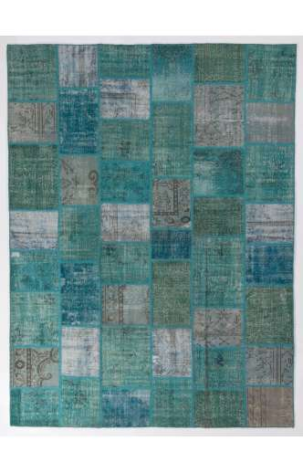 "200x300 cm (6'6"" x 9'10"")  Turquoise, Teal and light Sky Blue Vintage Patchwork Rug"