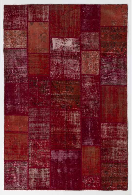 "6'6"" x 9'10 (200 x 300 cm) Red Color PATCHWORK with Orange pieces"