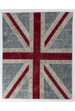 245x305 cm British FLAG Union Jack Design Patchwork Rug, Faded colors