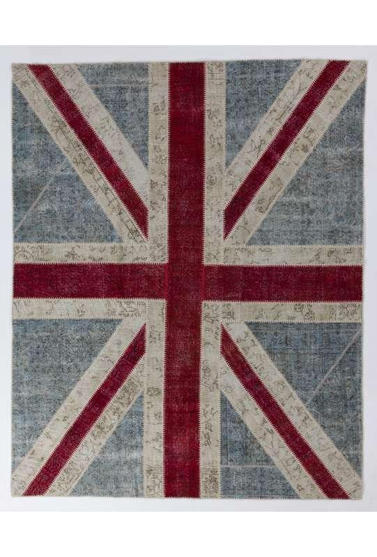 245x305 cm British FLAG Union Jack Design Patchwork Rug, Faded colors