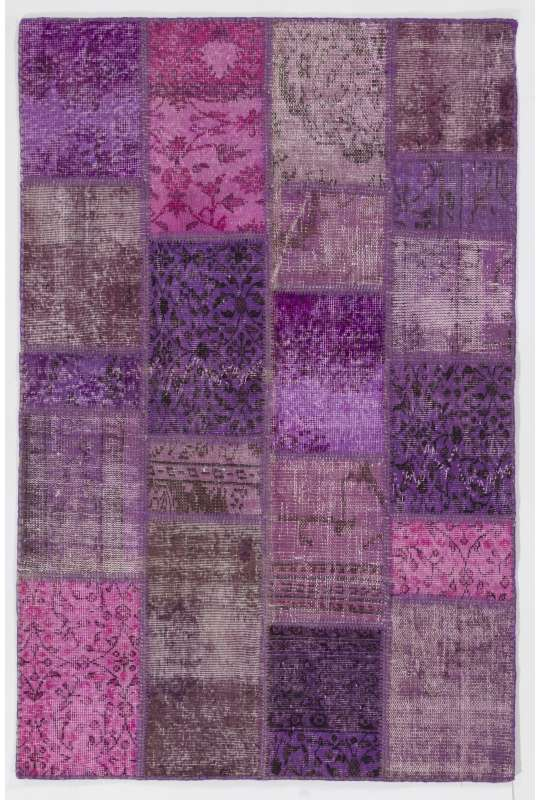 4' x 6' Purple, Lavender and Orchid Color Patchwork Rug