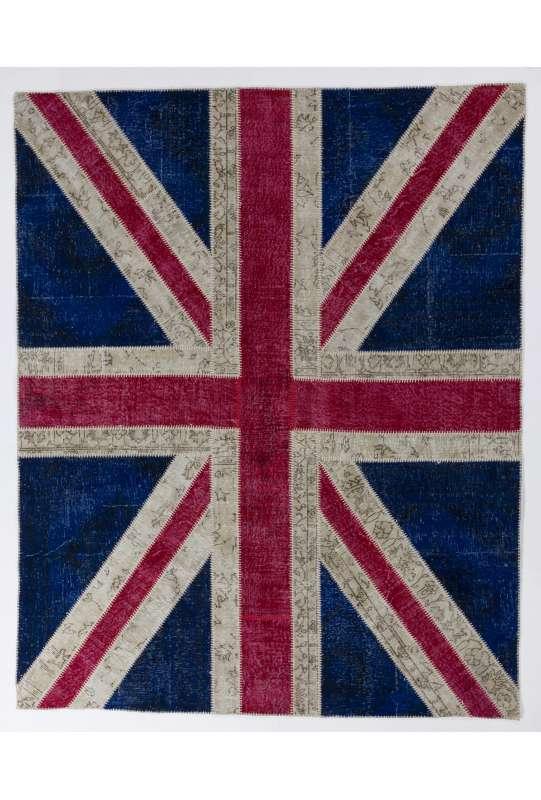 245x305 cm British Flag Union Jack Design Multicolor PATCHWORK RUG
