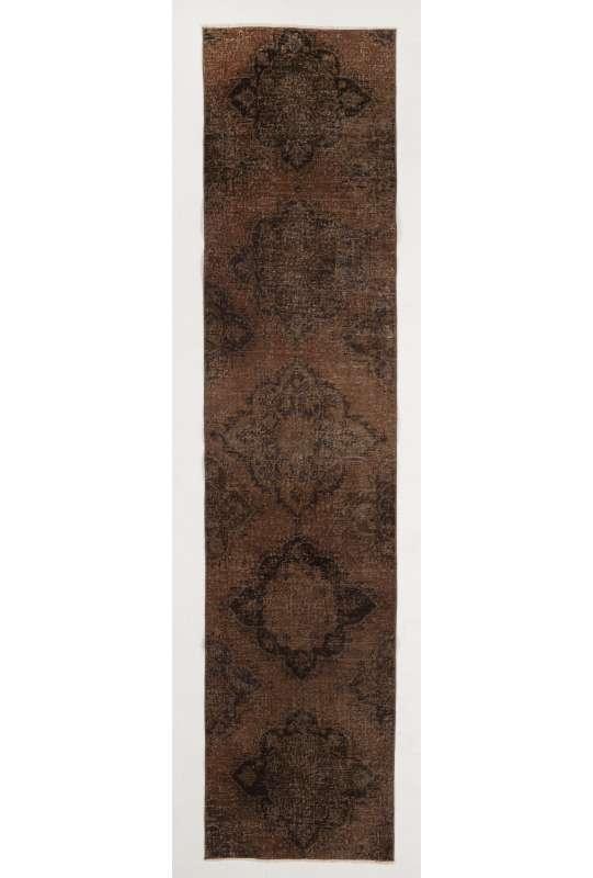 "Overdyed Runner Rug 2'5"" x 10'5"" (75 x 320 cm) Handmade Vintage Turkish Rug, Brown Overdyed Runner Rug"