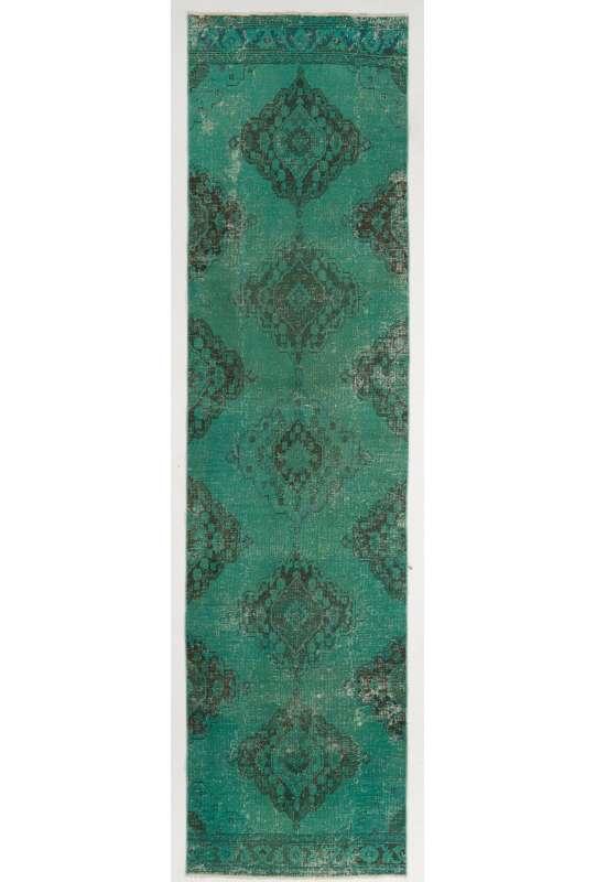 "Overdyed Runner Rug 3'3"" x 12'9"" (101 x 391 cm) Handmade Vintage Turkish Rug, Green Overdyed Runner Rug"