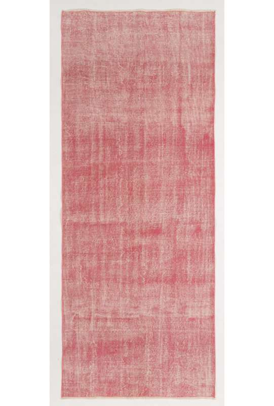 "Pink Overdyed Runner Rug 4' x 9'8"" (122 x 300 cm) Turkish Handmade Runner Rug, Pink Runner Rug, Soft Pink Handmade Runner Rug"