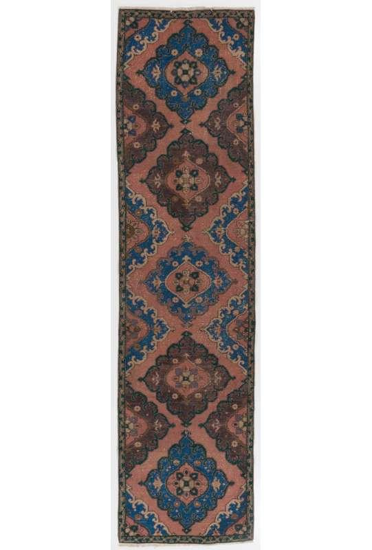 92 x 363 cm Kahverengi, Mavi ve Kayısı Rengi Eskitilmiş Overdyed Eldokuması Yoluk, Yumuşatılmış Renkli Yolluk, Overdyed Yolluk