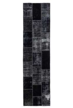 3' x 10' Black Patchwork Runner Rug