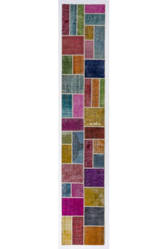 3' x 22' Multi-Color Patchwork Runner Rug