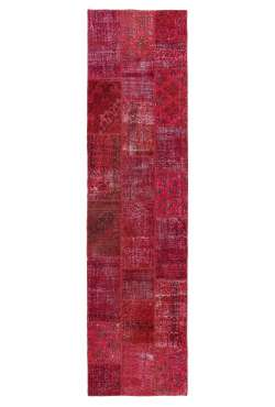 3' x 10' Red Patchwork Runner Rug